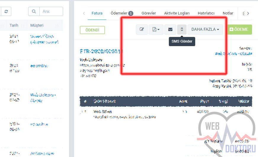 Perfex CRM Netgsm SMS modülü Fatura Sayfası